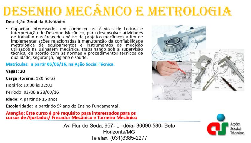 Matrícula Desenho Mecânico e Metrologia Incrição Encerrada